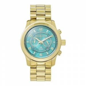 Michael Kors Watches Mk8315 Runway Turquoise & Gold Chronograph Lad...
