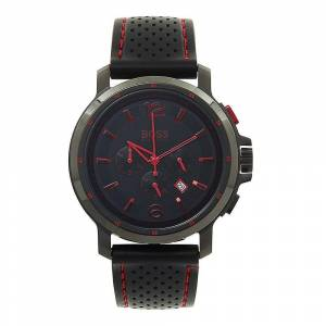 Boss Hugo Boss 1512597 Black And Red Rubber Strap Chronograph Watch
