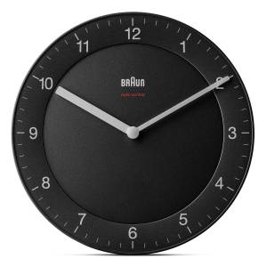 Braun Svart Radiostyrt design veggklokke (stille visere) - Braun Wall Clock BC06B-DCF