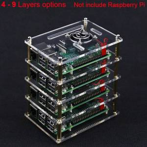 Superimposed 4 5 6 7 8 9 Layer Acrylic Case for Raspberry Pi 4 Model B Acrylic Holder Shell + Cooling Fan + Metal Cover for RPI
