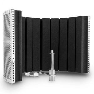 Auna MP32 MKII mikrofon-skärm mic screen absorber diffusor inkl. adapter silver