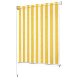 vidaXL Utendørs rullegardin 180X140 cm gul og hvit stripe