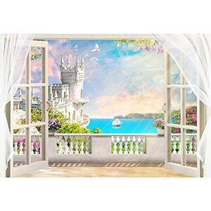 NATARTHD1-0715-36 Sommar strandbakgrunder för fotografering blått hav och himmel foto bakgrund palmträd hawaiiansk bakgrund för fotobås kokosnötsträd skal strand färsk sommar fotografi enkel bakgrund vägg
