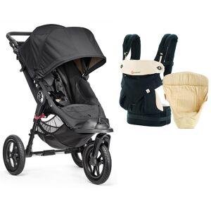 Baby Jogger City Elite Single + Ergobaby Easysnug Startpakke, Svart/Caramel
