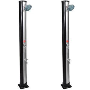 vidaXL Utendørs soldrevne dusjer med dusjhode og tappekran 2 stk 35 L
