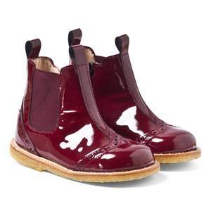 Angulus Patent Leather Chelsea Boots in Burgundy Lasten kengt 20 (UK 4)