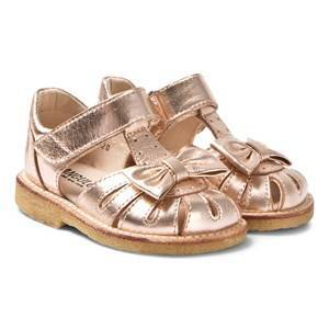 Angulus Rose Gold Leather Bow Closed Toe Sandals Lasten kengt 24 (UK 7)