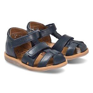 Pom Dapi Navy Leather Velcro Poppy Strap Sandals Lasten kengt 24 (UK 7)