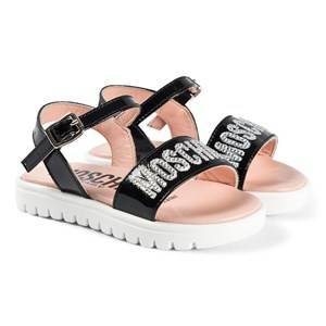 Moschino Kid-Teen Diamante Logo Sandals Black Lasten kengt 25 (UK 8)