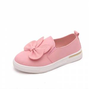 Newchic Girls Bowknot Decor Solid Color Slip On Lazy Comfy Flat Shoes