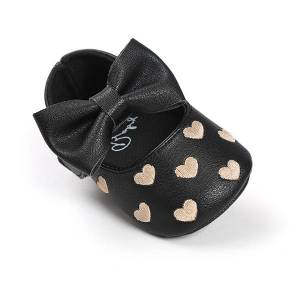 Newchic Newborn Baby Girls Shoes Bebe First Walkers Princess Big Bow Heart-Shaped Crib Flat For 0-24M