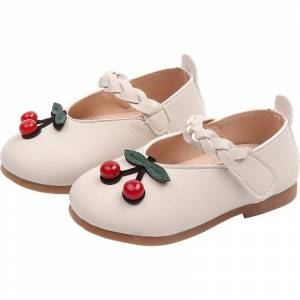 Newchic Girls Cherry Decor Hook Loop Lovely Flat Shoes For Toddler Kids