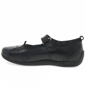 Hush Puppies Hush valper Childrens jenter Cindy senior tilbake til skolen skinn sko Svart skinn 3 UK