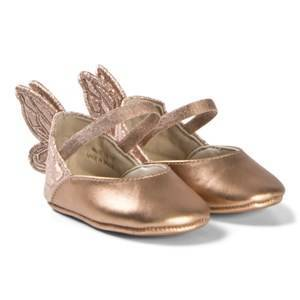 Sophia Webster Mini Rose Gold Chiara Embroidered Crib Shoe with Butterfly Wing 18-19 (6-12 months)