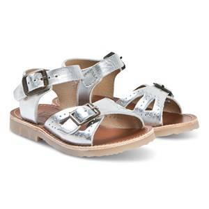 Young Soles Silver Leather Pearl Sandals 21 (UK 4.5)