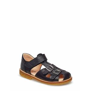 ANGULUS Sandal With Two Buckles In Front Sandaler Svart ANGULUS