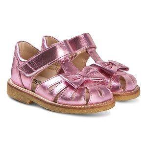 Angulus Läder Sandaler med Rosett Pink Metallic Barnskor 28 (UK 10)