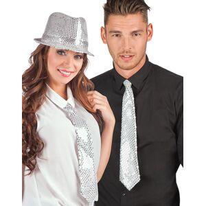 Hvitt Slips med Sølvfargede Paljetter