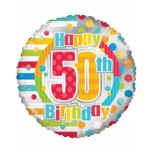 Happy 50th Birthday - Folieballong 46 cm