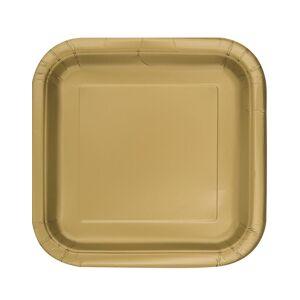 16 stk Små Firkantede Gullfargede Papptallerkener 17 cm