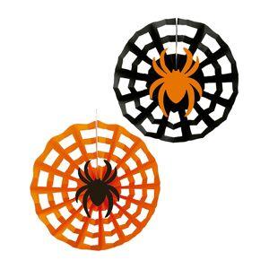 3 stk Orange og Svarte Papirvifter med Edderkopper