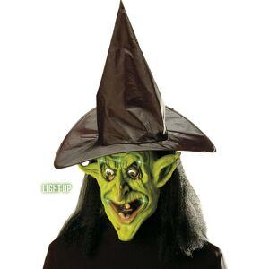 Grønn Heks - Maske m/Lys, Hår Og Hatt