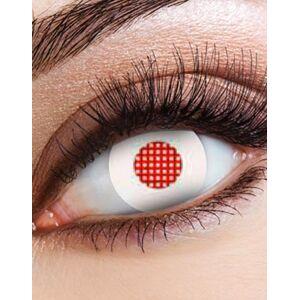 Hvite Crazylinser med Rød Netting over Pupillen