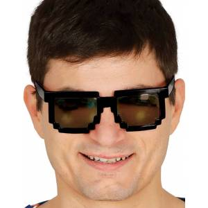 Svarte Piksel Kostymebriller med Svart Glass