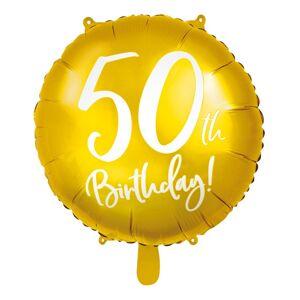 50th Birthday - Rund Gullfarget Folieballong 45 cm