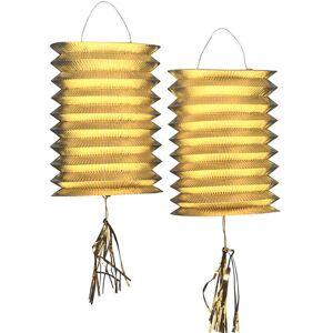 1 stk Gullfarget Trekkspill Lanterne 22 cm