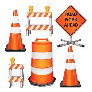 360 Degrees Ltd Pappersdekorationer Road Work Ahead - 6-pack