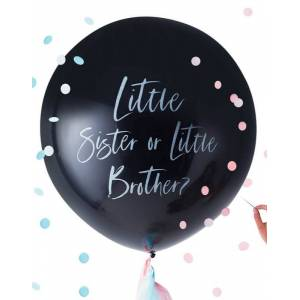 Brother Little Sister or Little Brother - 90 cm Ballong med Konfetti - Twinkle