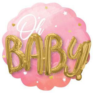 AMSCAN Oh Baby 3D Folieballong Ljusrosa