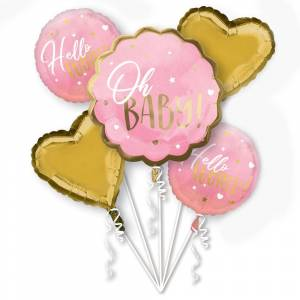 AMSCAN Oh Baby Ballongbukett Ljusrosa & Guld