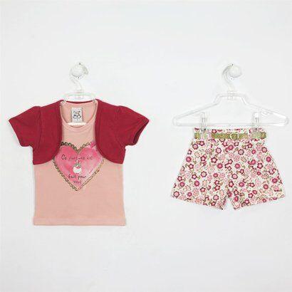 Conjunto Bebê Feminino Verão Short Estampado-Salmão-3 - Feminino-Vermelho