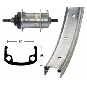 Bike-Parts Bike parts 26″ rear alloy wheel + hub gears Shimano 3 speed (RB)