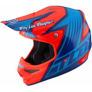 Troy Lee Designs Air Vengeance Motorcycle Cross Helmet Motorsykkel Cross Hjelm XS Blå Oransje