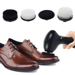 Newchic Electric Portable Shoes Polisher Cleaner with 4 Brush Heads Cleaning Brushes