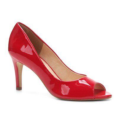 Peep Toe Shoestock Salto Fino - Feminino-Vermelho