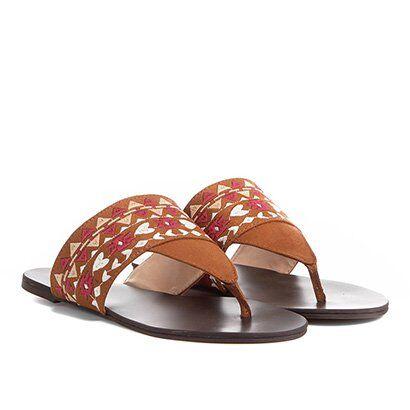 Rasteira Shoestock Étnica - Feminino-Caramelo