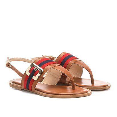 Rasteira Shoestock Gorgurão - Feminino-Caramelo