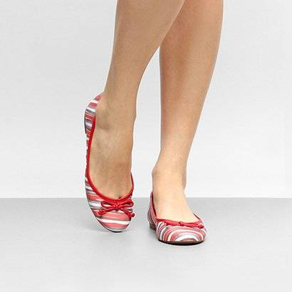 Sapatilha Shoestock Bico Redondo Estampada Feminina - Feminino-Vermelho
