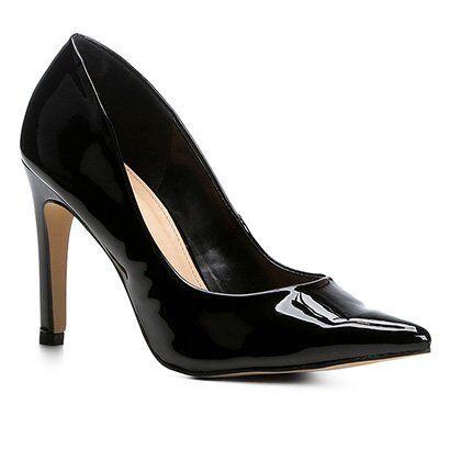 Scarpin Shoestock Salto Alto Verniz - Feminino-Preto