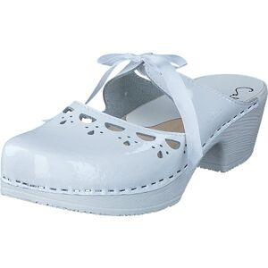 Calou Knyta White patent, Sko, Støvler og Støvletter, Skoletter, Hvit, Dame, 39