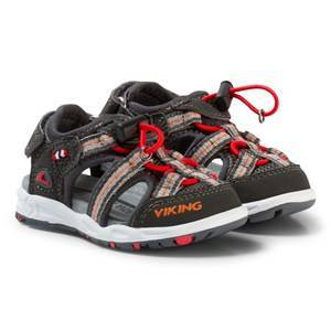 Viking Thrill Sandals Charcoal/Red 21 EU