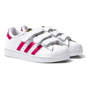 adidas Originals White and Pink Superstar Velcro Trainers 34 (UK 2)