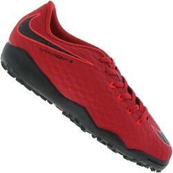 Nike Chuteira Society Nike Hypervenom X Phelon III TF - Infantil - Vermelho/Preto