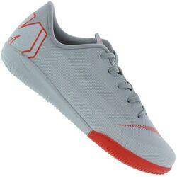 Nike Chuteira Futsal Nike Mercurial Vapor X 12 Academy IC - Infantil - CINZA CLA/VERMELHO