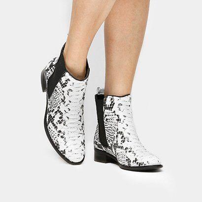 Bota Shoestock Curta Chelsea Cobra - Feminino-Cobra
