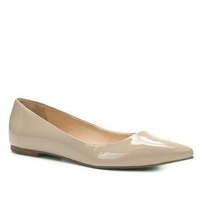 Sapatilha Shoestock Básica Bico Fino Feminina - Feminino-Nude